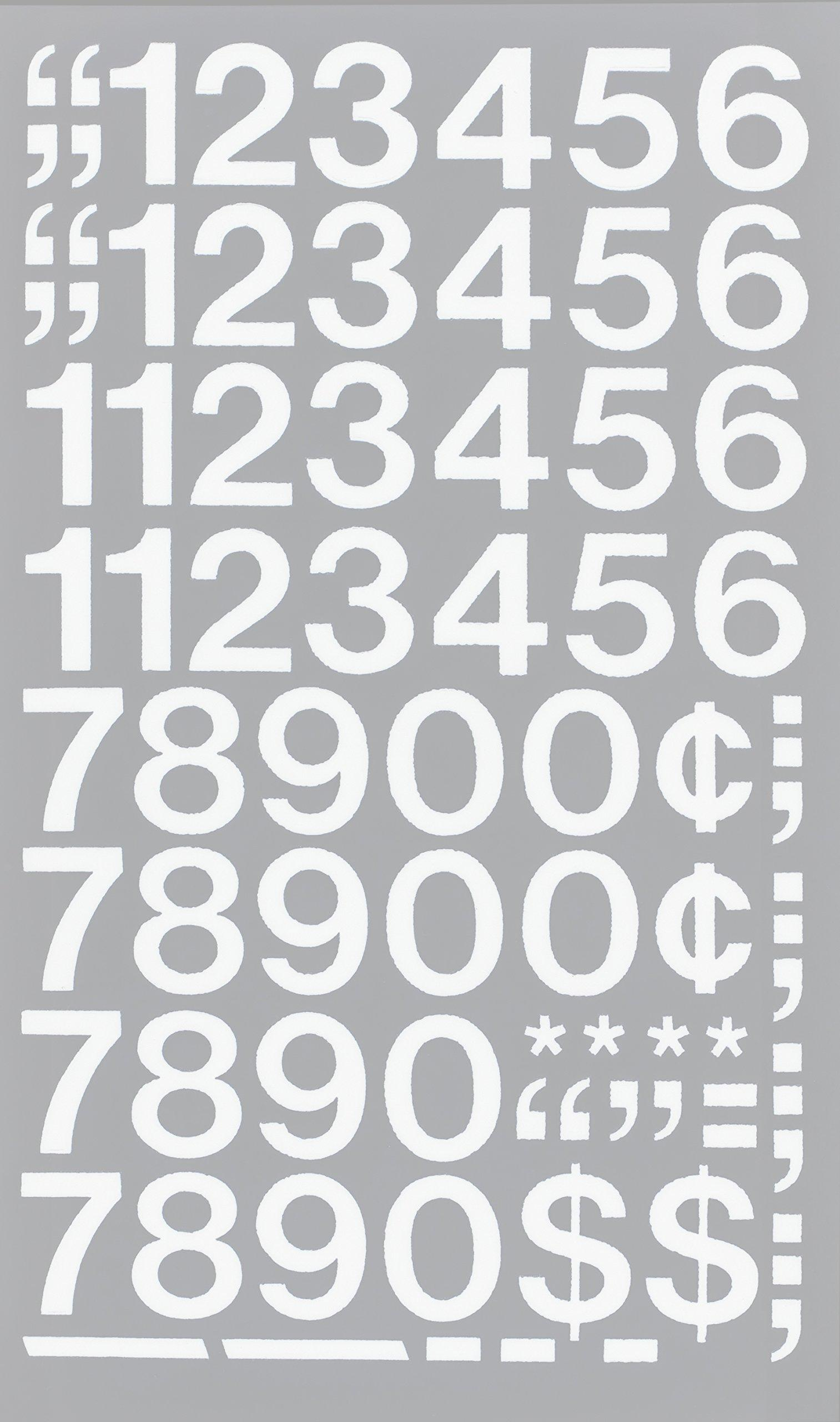 44 per Pack 1 Inch High White 01136 Chartpak Self-Adhesive Vinyl Numbers