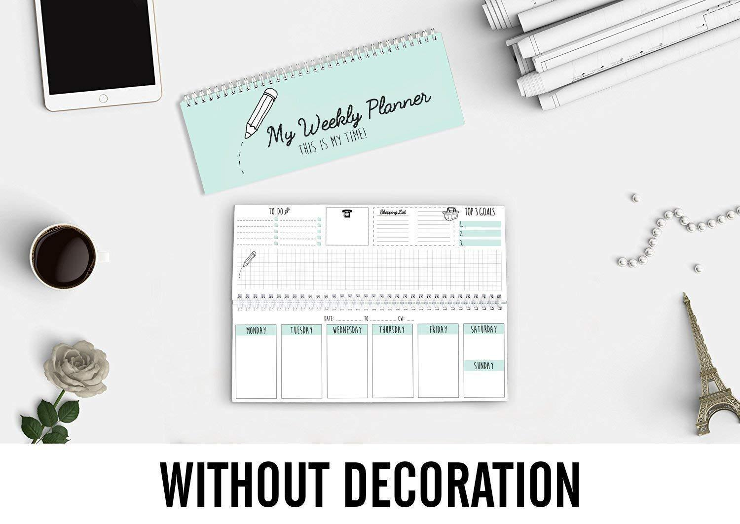 Blank Spiral One Year Calendars Appointment Log Book Shopping List and Graph Paper Project Diary Journal Notebook for Students Teachers CUPCAKES /& KISSES Weekly Desk Calendar /& Daily Planner