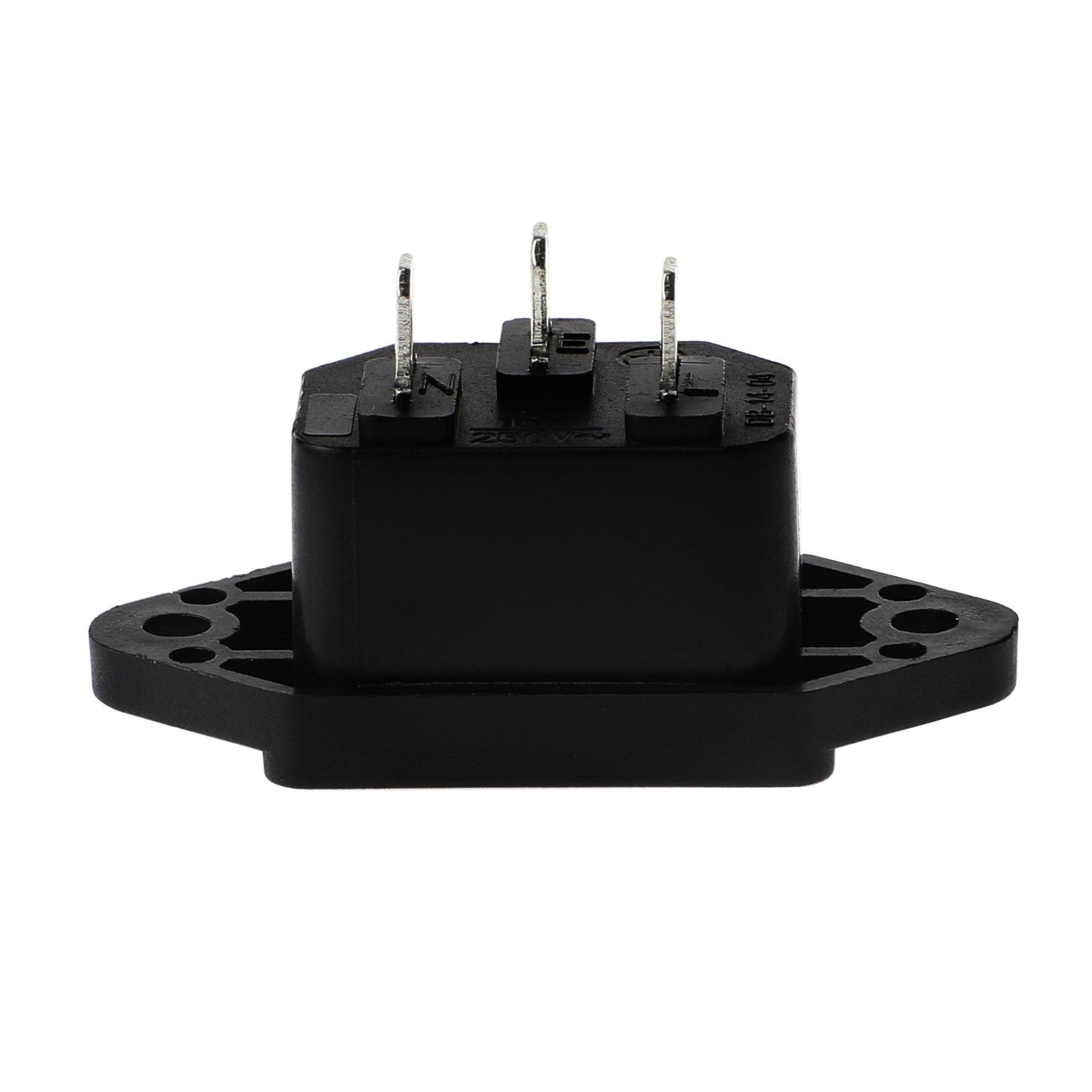 3X Screw Mount 3 Pins IEC320 C14 Inlet Power Plug Socket AC 250V 10A black Z5Z3